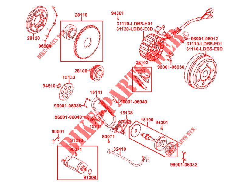 SCH0051 DEMARREUR MOTEUR KYMCO MXU 500 2009-499cc 31210-LBA2-E00